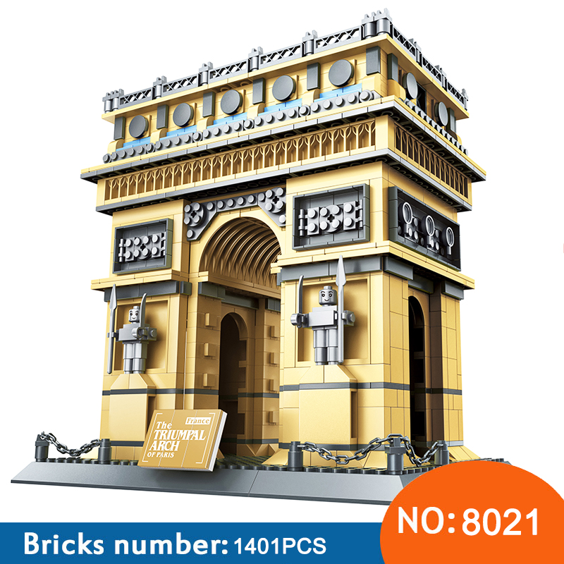 Wange 8021 Architecture PARIS ARC DE TRIOMPHE Series Building Blocks Educational Structure Bricks Toy For Children 21036 2018 new famous architecture series the french arc de triomphe 3d model building blocks classic toys gift