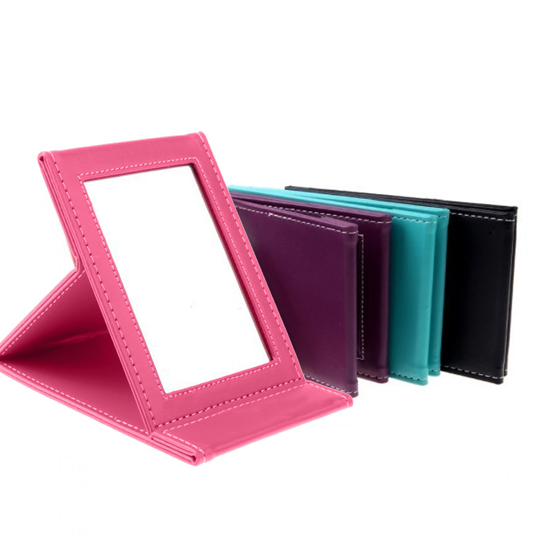 1 Pc Portable Leather Square Vanity Mirror Foldable Design Mirroe Simple Fashion Makeup Cosmetic Tool -27