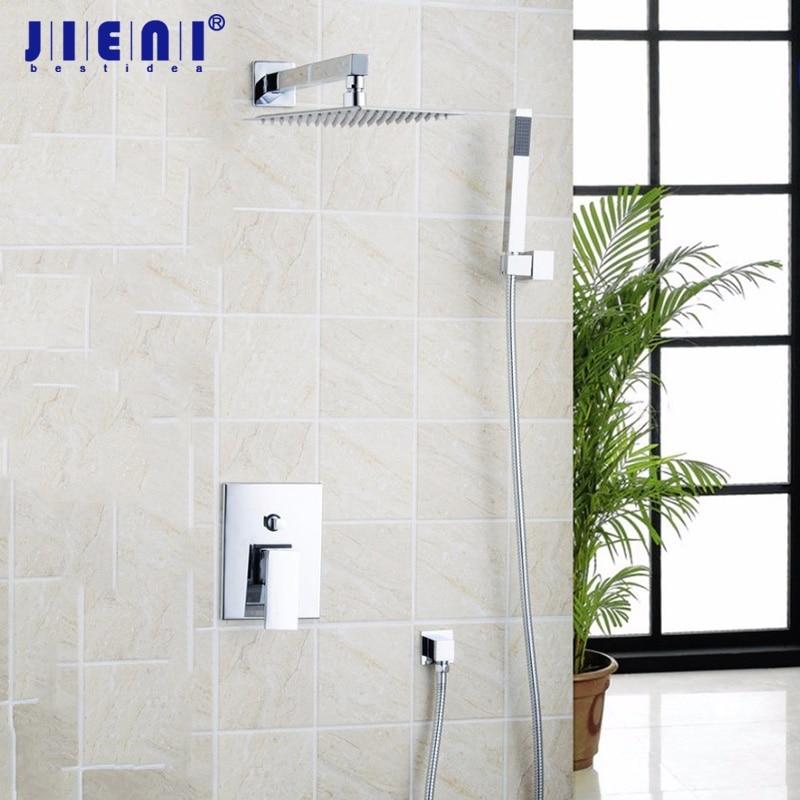 JIENI 10 Inch Ultrathin Rainfall Shower Head Bathroom Rain Bathtub Chrome Basin Sink Shower Set Torneira Tap Mixer Faucet