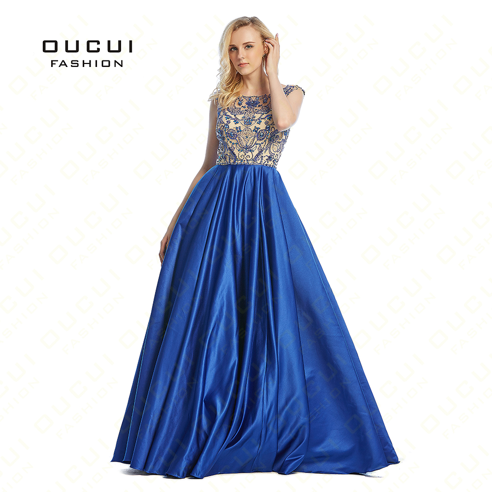 Real Photos Woman Prom Crystal Beaded Cap Sleeves Formal Long Evening Dress Gowns Party Dress OL102445D
