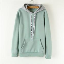 Oversized Hoodies Women Korean Harajuku Hooded Sweatshirt Long Sleeve Color Matching Autumn Winter 2018 Tops Female Tracksuits 1