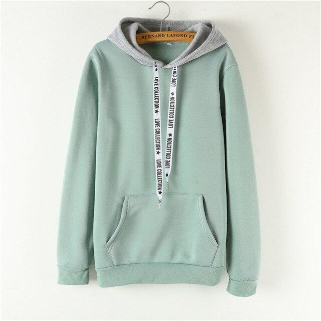 Oversized Hoodies Women Korean Harajuku Hooded Sweatshirt Long Sleeve Color  Matching Autumn Winter 2018 Tops Female Tracksuits 036641d9f