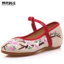 Vente chaude Vintage Femmes de Chaussures Chinois Plat Talon Avec Fleur Broderie Confortable Doux Toile Chaussures Plus La Taille 41