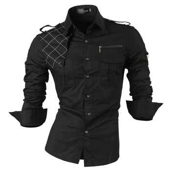 Jeansian herren Langarm Kleid Casual Shirts Slim Fit Mode Stilvolle Designer Military 8371