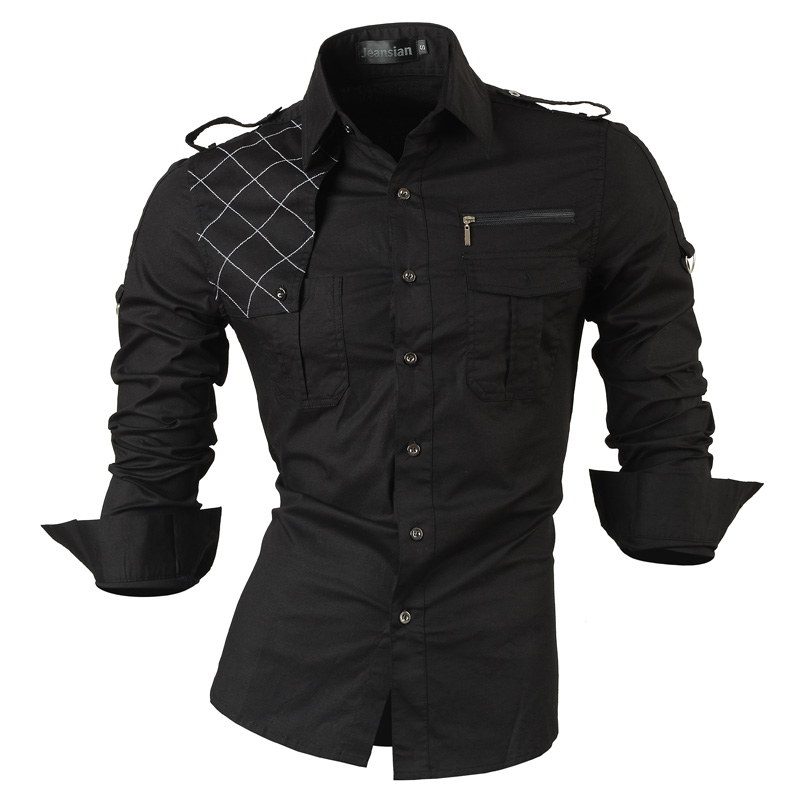 jeansian Men's Long Sleeve Dress Casual Shirts Slim Fit Fashion Stylish Designer Military 8371