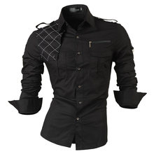 jeansian Men's Long Sleeve Dress Casual Shirts Slim Fit Fashion Stylish Designer Military 8371(China)