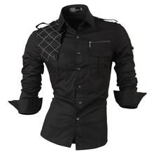 jeansian Men's Long Sleeve Dress Casual Shirts Slim Fit Fashion Stylish Designer Military 8371