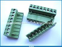 10 Pcs 5 08mm Straight 8 Pin Screw Terminal Block Connector Pluggable Type Green