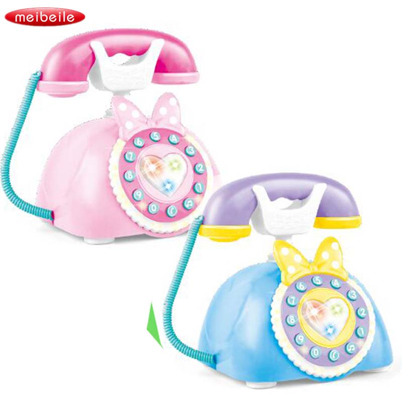 Two Languages Baby Children Simulation Retro Telephone Lights Music Gifts Early Educatio ...