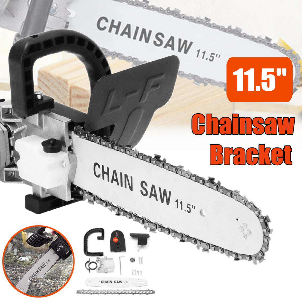 Upgrade Electric Saw Parts 11.5 Inch M10 Chainsaw Bracket Changed 100 Angle Grinder Into Chain Saw For Any Angle Grinder