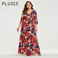 Plusee Dress Plus Size 5XL 6XL Women A Line Spandex V Neck Pullover Floral Color Block