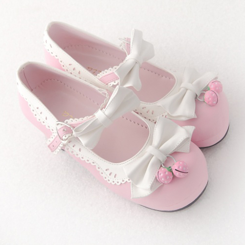 Princess Sweet Lolita shoes Royal HARAJUKU pink strawberry bell cute bow round toe pumps for young girl custom color can choose princess sweet lolita shoes royal harajuku pink strawberry bell cute bow round toe pumps for young girl custom color can choose