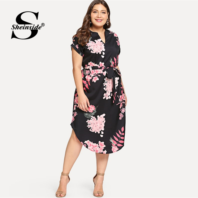 Sheinside Plus Size Elegant Floral Print Straight Belted Dress Women 2019 Summer Casual Roll Up Sleeve Boho Midi Dresses 1