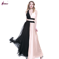 In Stock A Line V Neck Full Length 2 Colors Black And Light Pink Chiffon Prom