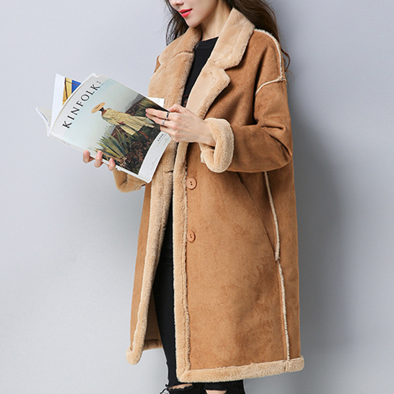 2018 winter   Suede     leather   plus wool jacket women long Slim   leather   plus thick warm lapel lambswool coat Female PU jackets QH1235