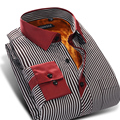 Caiziyijia 2017 invierno hombre espesar camisa de rayas de manga larga warm plus velvet classic-fit mezcla de algodón de negocios camisas de vestir