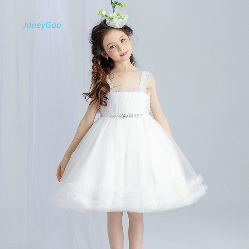 JaneyGao White   Flower     Girl     Dresses   For Wedding Party Ball Gown Tulle Princess With Elegant Crystal 2019 New Fashion Hot Sale