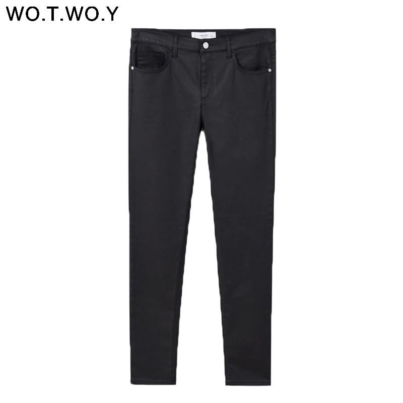 Wotwoy Skinny High Waist Pants Women Causal Black Trousers Women Summer Pencil Pants Cotton Stretch Pantalon Femme Capris