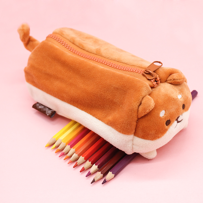 Candice Guo Super Cute Plush Toy Cartoon Fat Shiba Dog Puppy Soft Pencil Bag Storage Bag Pencil Case Birthday Christmas Gift 1pc