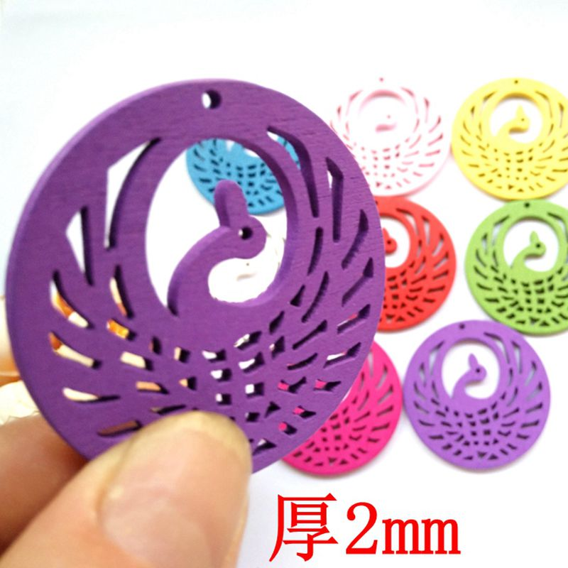Wooden Colorful Round The Peacock Spreads Its Tail Pendant DIY for Wedding Festival Party Craft Decoration Size 48mm 50pcs/lot