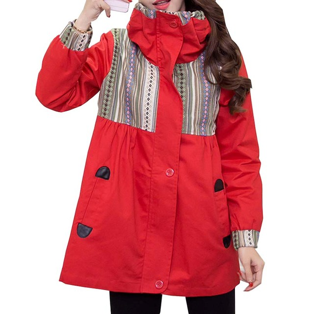 Winter Trench Premama with Embroidery Hooded Maternity Coats for Pregnant Women Abrigos Embarazadas Soft Loose Outerwear Gravida