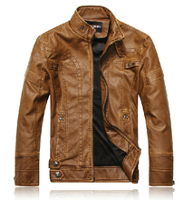 Hot  2014 Spring men's fashion short paragraph motorcycle leather jacket stand collar plus velvet leather clothing / M-XXL