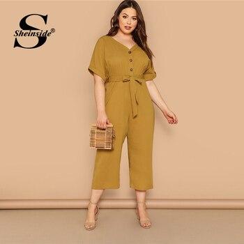 Sheinside Plus Size Mustard Button Up Jumpsuit Women 2019 Summer Short Sleeve V Neck Jumpsuits Ladies Solid Belted Jumpsuit