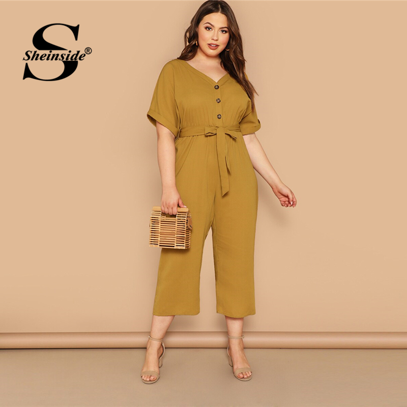 Sheinside Plus Size Mustard Button Up   Jumpsuit   Women 2019 Summer Short Sleeve V Neck   Jumpsuits   Ladies Solid Belted   Jumpsuit