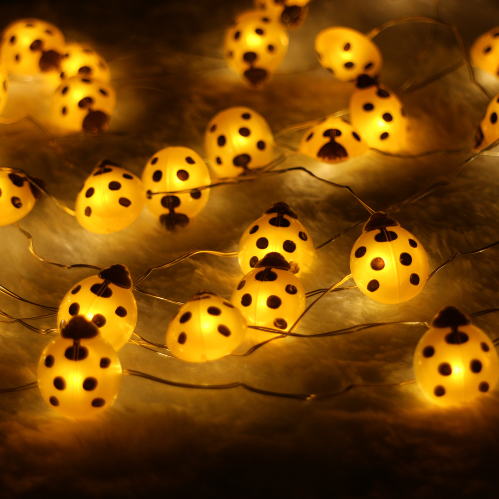 40LED10Ft 3m Ladybug Led string Light Decoration Halloween Indoor&Outdoor Battery Operated Silver Wire String Lights With Remote