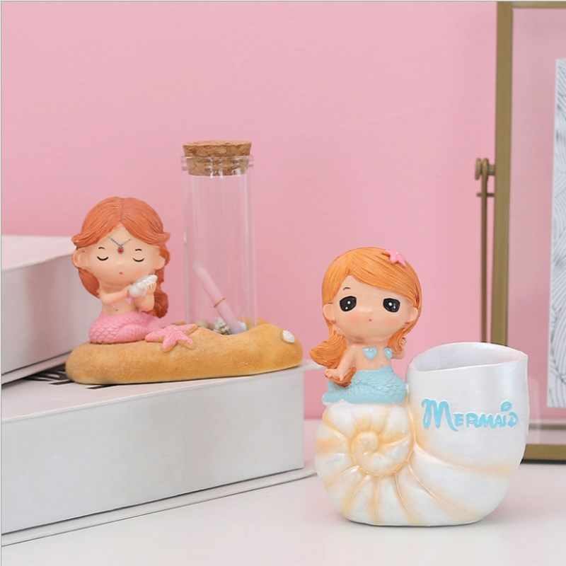 Mermaid Princess การ์ตูน Piggy Bank กล่องเงินตกแต่งบ้านตกแต่งห้องพักน่ารักเครื่องประดับเด็กวันเกิดของขวัญ