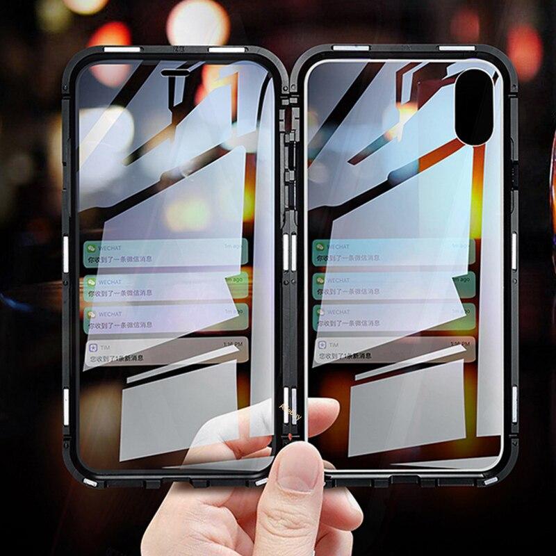 Clear Dubbelzijdig Gehard Glas Magnetische Adsorptie Flip Case voor iPhone XS MAX iPhone 10 X XR XS 360 Bescherming magneet Cover