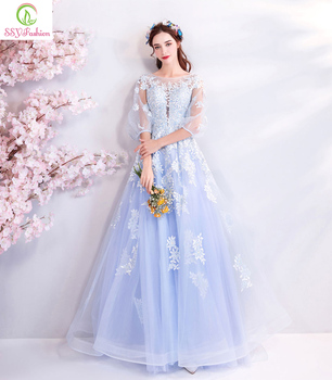SSYFashion New Fresh Light Blue Evening Dress 3/4 Sleeved Floor-length Lace Appliques Sequined Prom Party Gown Robe De Soiree