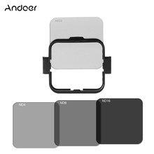 Andoer nd2/nd4/nd8/nd kit protetor de filtro de lente quadrada conjunto para gopro hero 4 sessão com suporte de quadro de montagem de filtro