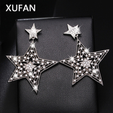 fcd0278f2 New Hollow CZ Zircon Star pentacle Stud Earrings exaggerated Shiny zircon  silver color pentagon earrings for