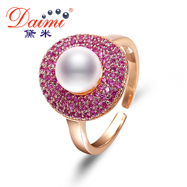 Hot Fashion! 7-8mm Natural White Pearl & Shiny Purple Crystal Pearl Rings Cute Style For Women