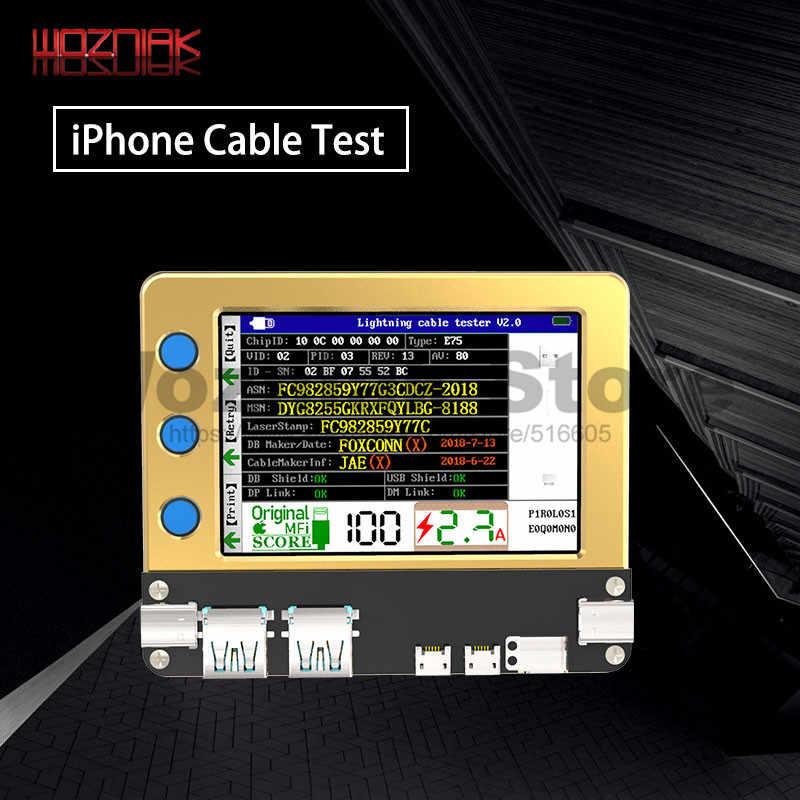 Del Telefono Mobile Caricatore Del Cavo Tester di Apple Android di Cavo di Dati Del Caricatore Sopra La Corrente di Prova Linea di Carico di Dati di Rilevamento per Il Iphone