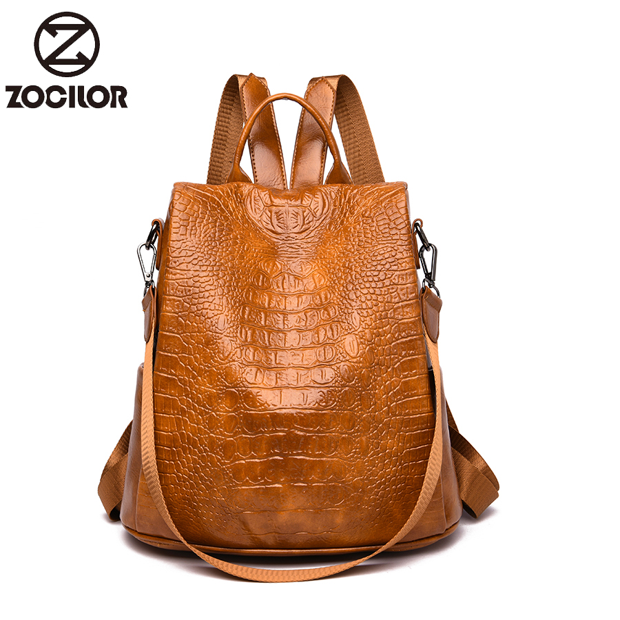 Vintage Women Backpack Soft Leather School Bags For Girls Lady Simple Style Backpack Large Capacity Leisure Shoulder Bag