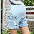 Одежда для беременных Летние Джинсовые Эластичный Пояс Беременных Прямые Шорты Джинсы для Беременных Повседневная Живота Шорты Мода Плюс Размер