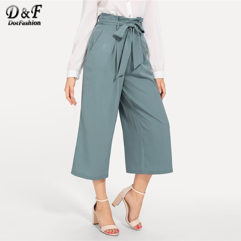 Dotfashion Blue Knot Boxed Pleated   Wide     Leg     Pants   Women 2019 Casual Korean Fashion   Pants   Spring Summer Streetwear Loose Trousers