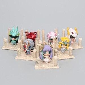 Image 5 - 21 יח\סט אנימה Seiya דמות זהב ביצת תיבת PVC פעולה איור אבירי של גלגל המזלות צעצוע דגם Q מהדורה ילדים מתנה