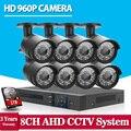 HD 8CH CCTV System 720P 1080P DVR 8PCS 960P/ 1.3MP 2500TVL IR Outdoor Video Surveillance Security Camera System 8 CH DVR Kit 1TB