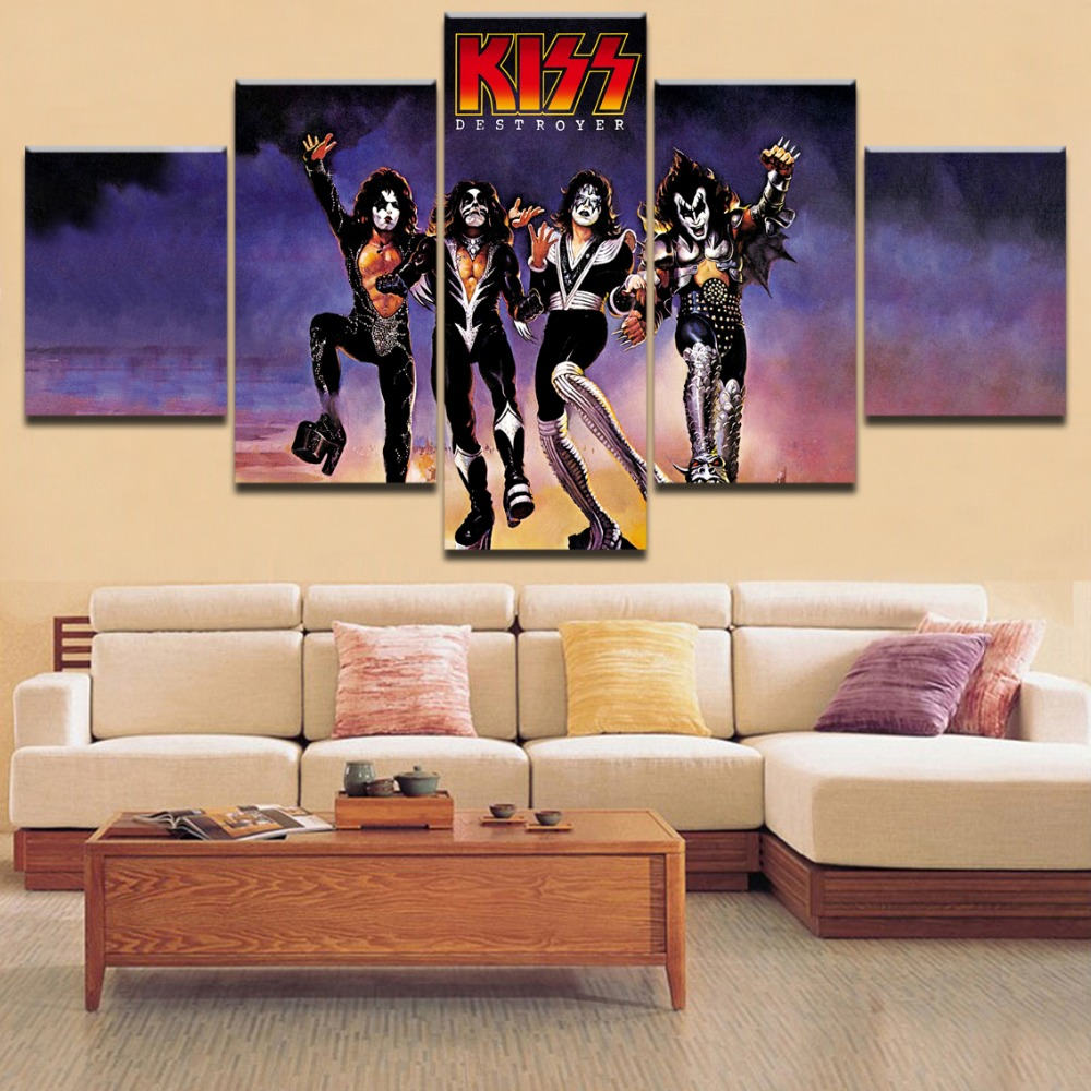 5 Pieces Framework Top-Rated HD Printing Painting Kiss Destroyer Type Poster Modular For Home Decorative Modern Living Room