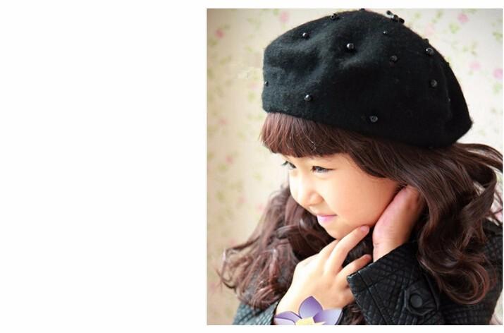 Encantadora perla lana boina casquillo del pintor casquillo hecho ...