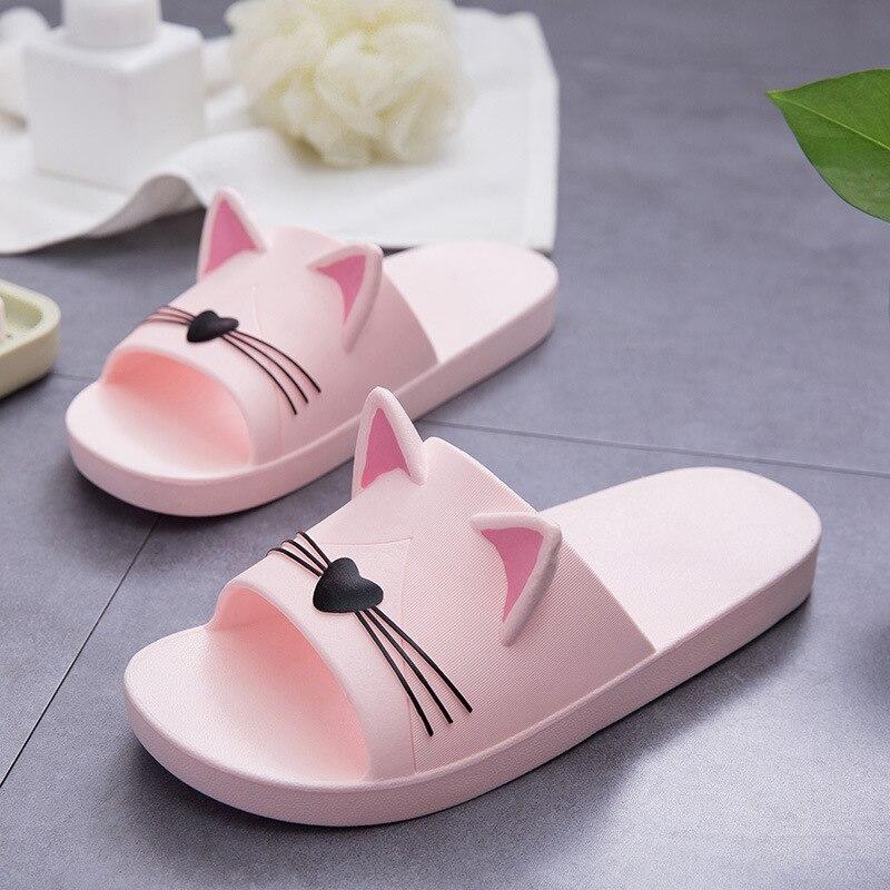 Schöne Schuhe Frauen Hausschuhe Cartoon Katze Sommer Indoor Familie Bad Hausschuhe Liebhaber Slides Flip-Flops Flache Schuhe