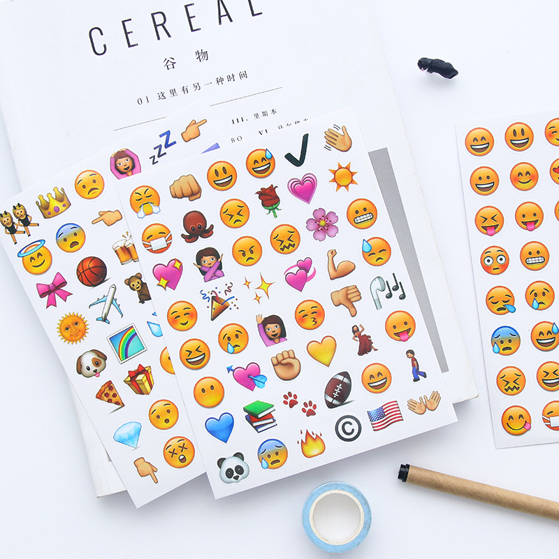 4 Sheets/Set 192 Emoji Smile Face Diary Stickers DIY Kawaii Scrapbooking Stationery Sticker Stationery New School Supplies