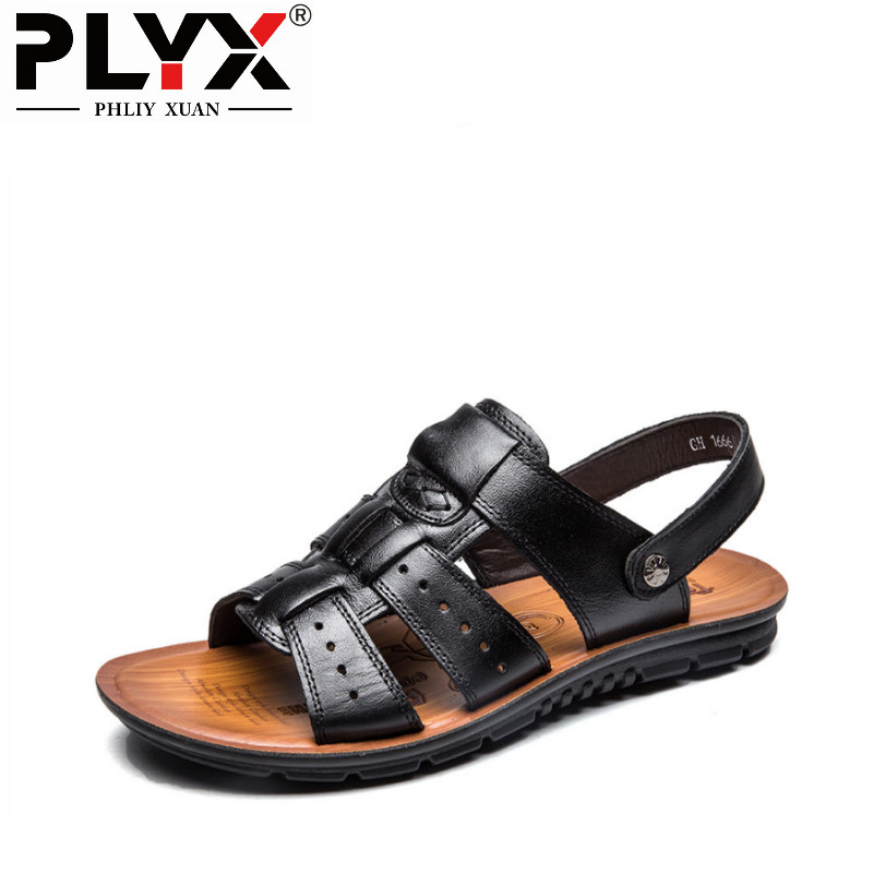 PHLIY XUAN New 2018 Sandals Men Summer Genuine Leather Black/Brown Beach Male Sandals Slippers Outdoor Plus Size 39-47