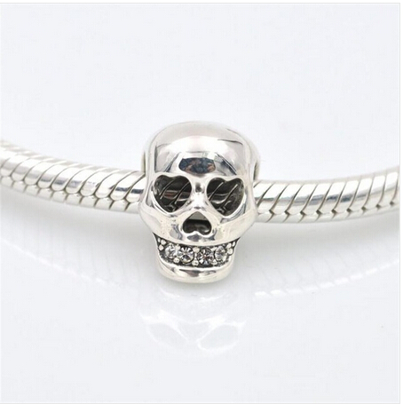 charm 2017 925 Sterling Silver bead charm skull pave cz berloque original fit bracelet findings 925 sterling silver cz by the yard anklet bracelet 10