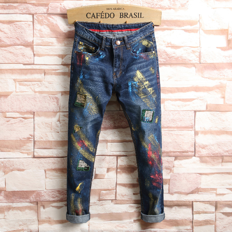 night club jeans men painted ripped jeans trousers high