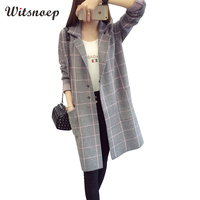 Witsnoep Plus Size 3XL Plaid Long Sleeve Sweater Cardigans Women 2018 Autumn Winter Long Cardigan Female Tricot Knitted Jacket