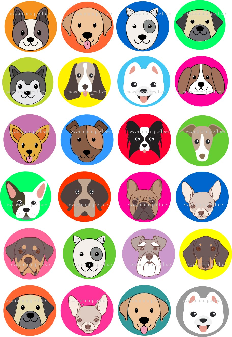 Brilliant 24 Dog Breed Edible Cake Topper Wafer Rice Paper For Cake Cookie Funny Birthday Cards Online Alyptdamsfinfo